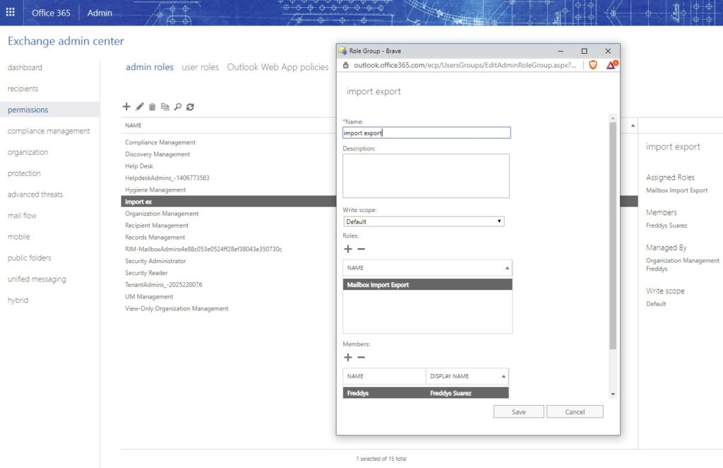Exportar un pst en Office365